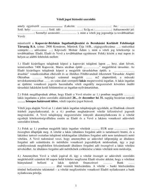 opciós szerződés)