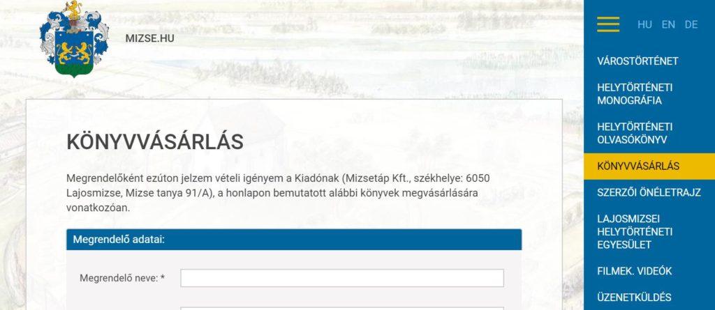 erődök hivatalos honlapján bemutató számla)