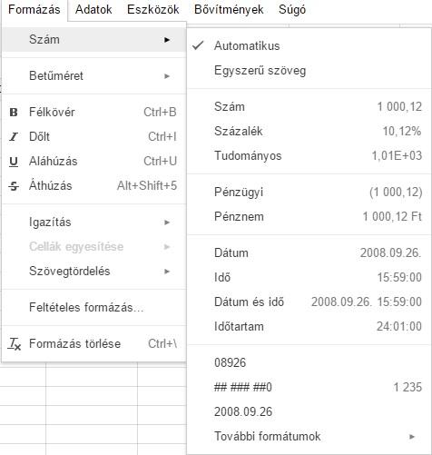 opció jelölési táblázat)