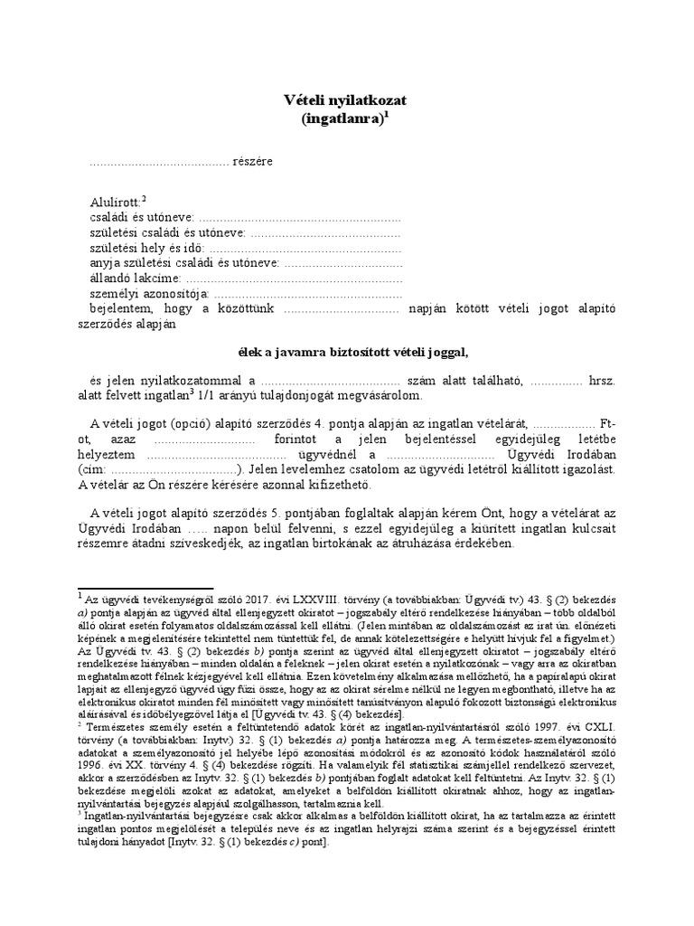 opciós szerződés minta)